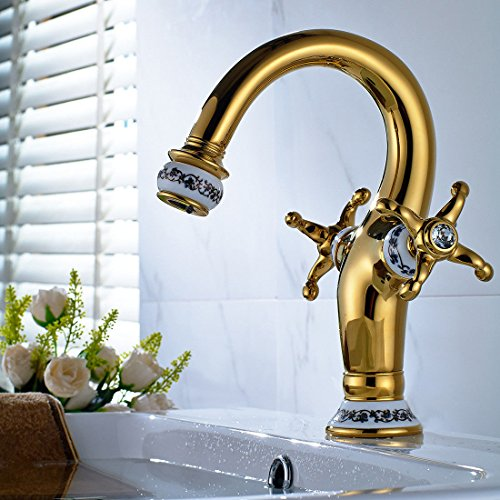hbarer Dual-Spülbrause,Kaltes Heißes Wassert Copper-plated blue and white porcelain two-handed wheel hot and cold water bathroom basin faucet gold kitchen faucet ()