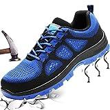 Fish&Fairy Sicherheitsschuhe Herren Damen Arbeitsschuhe Stahlkappe Schutzschuhe Leicht Atmungsaktiv Sportlich Traillaufschuhe Blau 41