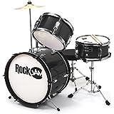 RockJam RJ-103B 3-Teile Junior Schlagzeug-Satz mit Crash-Becken (Trommelstecken, einstellbarer Thron, Zubehör) schwarz