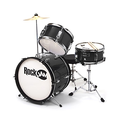 rockjam-3-piece-junior-drum-set-with-crash-cymbal-drumsticks-adjustable-throne-and-accessories-black