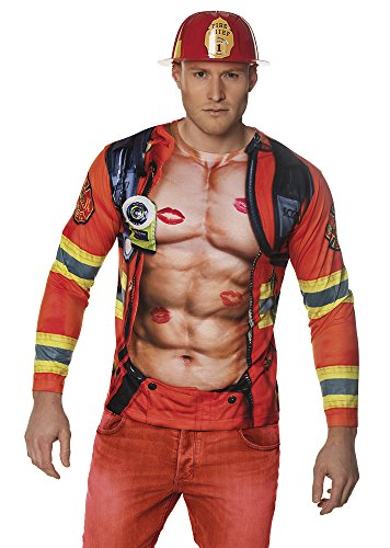 Boland 84405 Photorealistisches Shirt Fireman, mens, L