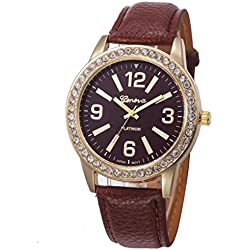 WINWINTOM Women Stainless Steel Analog Leather Quartz Wrist Watch Coffee