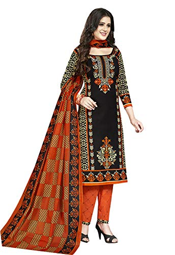 Ishin Women\'s Cotton Black & Orange Printed Unstitched Salwar Suit Dress Material With Dupatta