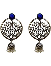Rapunzel Collection Ethnic Antique Oxidised Silver Look Metal Jhumki Earring With Coloured Stone For Women & Girls
