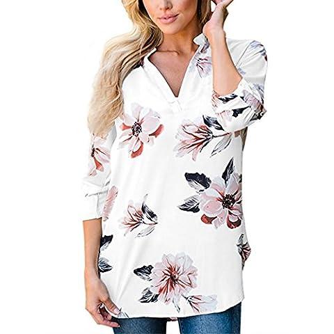 Shinekoo Femmes Elégante Chemisier Col V 3/4 Manche Imprimé Longue Top Hauts Blouse Shirt