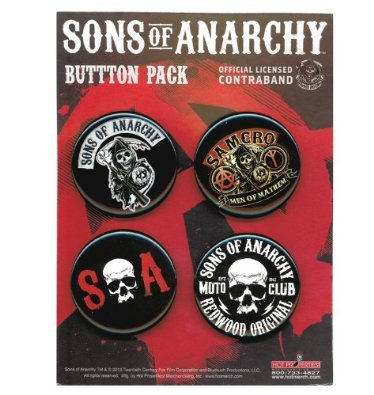 "Preisvergleich Produktbild SONS OF ANARCHY, Officially Licensed, 6"" x 4.5"" 4 Pack Button SchaltflächeCollection"