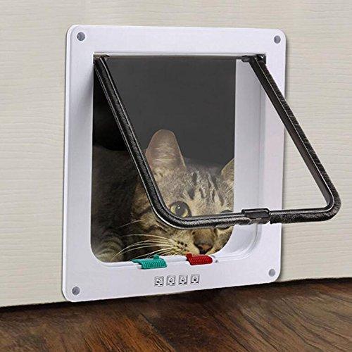 LeRan Multi-position Pet Türklappe 4 Möglichkeiten Magnetische Abschließbare Klappe Kleine Hunde oder Katzen Tore Haustiere Liefert (Weiß)