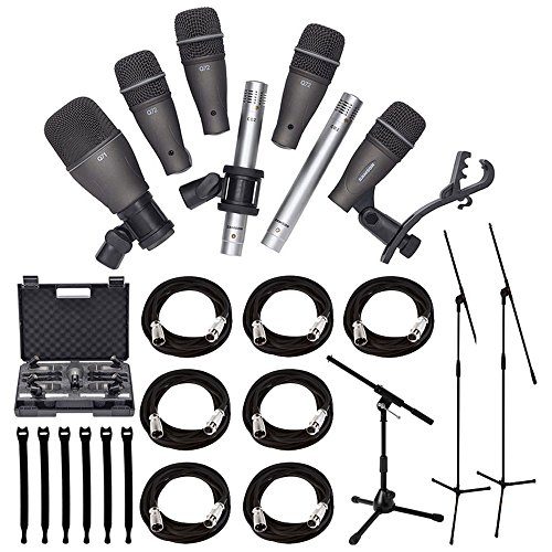 Samson dk7077DRUM MIKROFON Kit + Stativ Base Mikrofon Boom Ständer + Ultimate tiefhängend Stativ Mikrofon Ständer + 7XLR-Mikrofon Kabel 20ft. + Strapeez, schwarz + Ultimate Zubehör Bundle