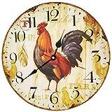 VieVogue Horloge Murale Silencieuse, Pendules Murales Décorative en Bois Style Vintage Rustique Minable Décor Cuisine Maison Chic pour Le Salon Chambre Cuisine Bureau sans Tic Tac (Coq, 30cm)
