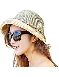 bb80ba7395a0a Aloiness Hat Straw Beachcomber Cheap Panama Summer Straw Sun Hats UV  Protection Beach Hats for Hiking