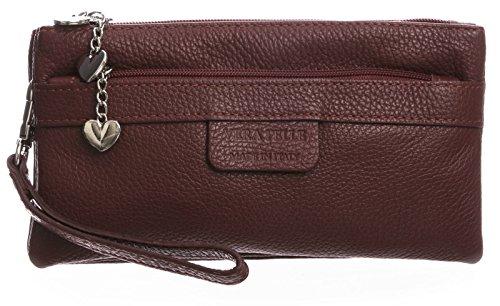 BHBS Damen Clutch Tasche aus echtem itelienischem Leder mit mehreren Tascheh Herz Charm 22 x 11 x 5 cm (B x H x T) Tief rot