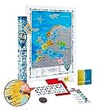 Mappa dell Europa da Grattare Dettagliata - Cartina Europa da Grattare Grande Argento 48 x 68 cm con Adesivi - Scratch off Travel Map Europe Poster Mappa Viaggi - Regalo per Viaggiatori