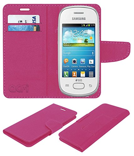 Acm Mobile Leather Flip Flap Wallet Case for Samsung Galaxy Star S5280 S5282 Mobile Cover Pink  available at amazon for Rs.369