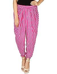 Pink & White Striped Rayon Dhoti Pant, Patiala Dhoti Salwar For Women, Girls From Khazana Basics (JTDH7113, Pink...