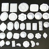 KBZHAE7 33Pcs/set Doll House Kitchen Tableware Model Miniature Tableware Plastic Plate Dishes Set For Decorative Use