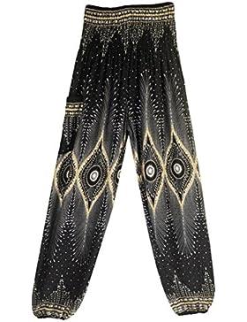 Pantalones Harem tailandeses de Las Mujeres de los Hombres Pantalones de Yoga de la Cintura Alta de los Pantalones...
