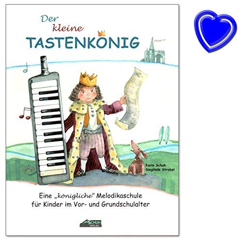 Der kleine Tastenkönig - Melodika-Lernbuch für Kinder im Vor- und Grundschulalter mit Großem Notenbild, Spannenden Spiel- und Suchaufgaben, Liebevollen Illustrationen, bunter herzförmiger Notenklammer