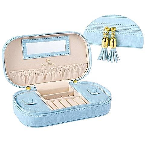 Vlando Small Travel Jewelry Box Organizer - Woman Girls Take-out Handbags - Faux Leather Tassel Design (Pink) (Blue)