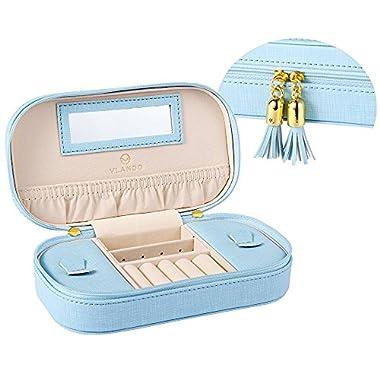 Vlando Tassel Jewellery Box Organiser for Necklaces Earrings Rings – Woman Girls Faux Leather Jewelry Storage Case…