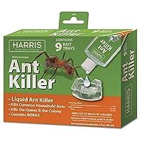 Harris Ant Killer, 3oz Liquid Borax Poison Value Pack Includes 9 Bait Trays Indoor Use