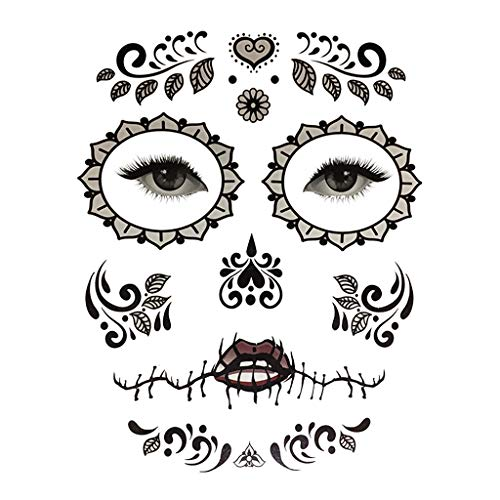 Baoblaze Herren Damen Kinder Temporay Tattoos Aufkleber Halloween Kostüm Kindertattoos Karneval Fasching Sticker - 4