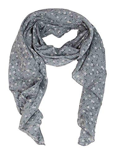 Seiden-Tuch Damen Blumen Muster - Made in Italy - Eleganter Sommer-Schal für Frauen - Hochwertiges Seidentuch / Seidenschal - Halstuch und Chiffon-Stola stilvolles Muster von Zwillingsherz grau