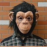 TTXLY Máscara de Halloween Máscara de látex Máscara de orangután Oreja Grande Máscaras de Mono Casco de Animal Cabeza Cubierta de la máscara Máscara de Cabeza Vestido Apoyos de Fiesta