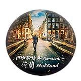 Weekinglo Souvenir Ámsterdam Países Bajos Holanda Imán de Nevera Ciudad Mundo Cristal Cristal Hecho a Mano Recorrido Turístico Recuerdos Letra Fuerte Etiqueta Pegatina Niños