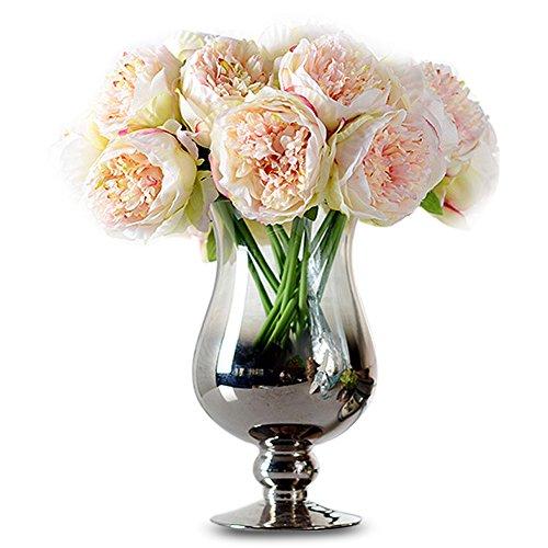 Tininna elegante tocco reale artificiali bouquet di peonie in seta fiori di seta per wedding casa decor matrimoni decor(champagne)