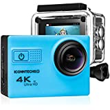 Action Camera For Sports Photography | UHD 4K/24fps, 1080P/60fps, IMX078 Sensor, 70-170 Wide Angle Lens, Waterproof Up To 30m By ICONNTECHS IT (Blue)