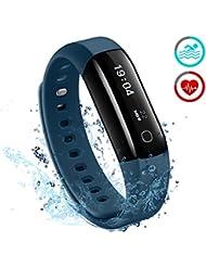 Fitness Tracker, Mpow IP68 Wasserdichte Smart Fitness Armbänder mit Pulsmesser, OLED Bildschirm Herzfrequenz Monitor Aktivitätstracker Pedometer für Android iOS Smartphones z.B. iPhone 7/7 Plus/6S/6/5/5S, Samsung S8/S7, Huawei, LG, Sony.