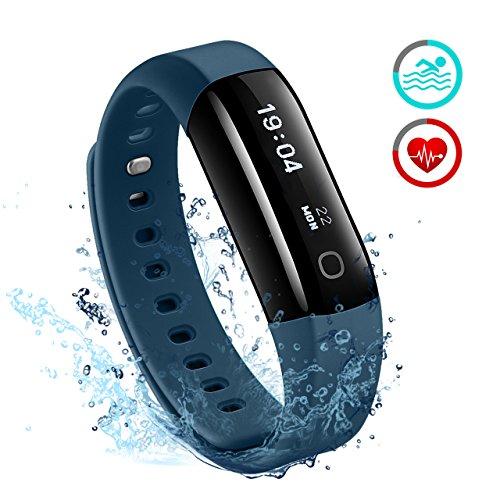 Fitness Tracker, Mpow IP68 Wasserdichte Smart Fitness Armbänder mit Pulsmesser, OLED Bildschirm Herzfrequenz Monitor Schwimmsportuhr Aktivitätstracker Pedometer für Android iOS Smartphones.