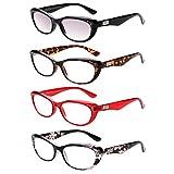 LianSan Designer 4 Pack Womens Cat Eye Retro Fashion Reading Glasses 1.0 1.25 1 .5 1.75 2 00 2.25 2.50 2.75 3.0 3.25 3.5 4.0 L3705(+2.00)