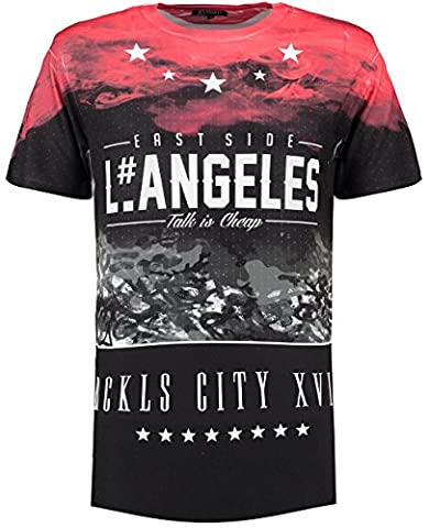 Twisted Soul Mens Curved Hem Long Line Portis Short Sleeve Crew Neck T-Shirt Tee