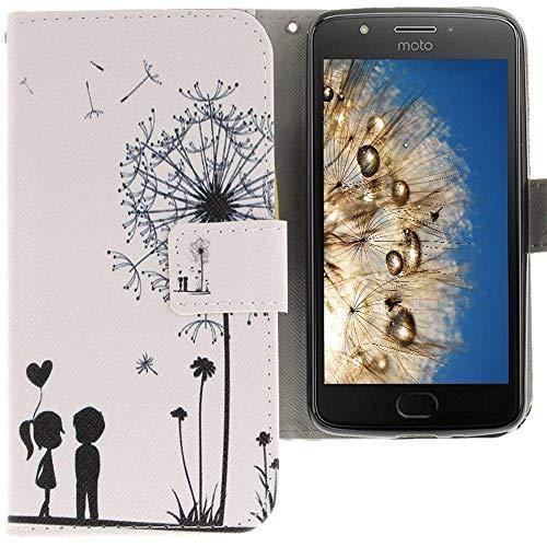 CLM-Tech kompatibel mit Motorola Moto E4 Hülle Tasche Kunstleder, PU Leder-Tasche Lederhülle, Pusteblume weiß schwarz