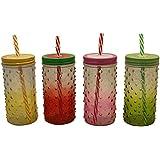 ALTG Slim N Trim Mason Jar/Milkshake Glass Bottle 500ML - Pack Of 4 (Multicolour)