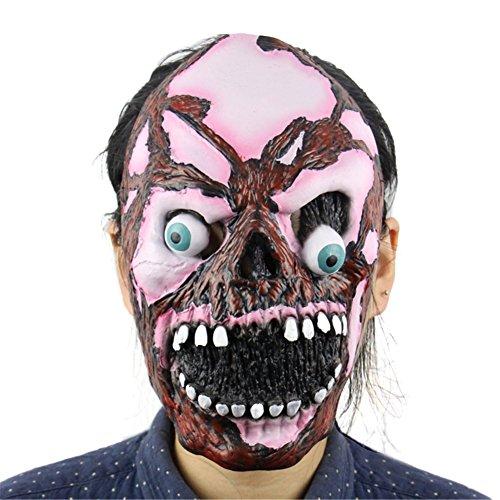 Wongfon Latex Maske Full Face Geistermaske Creepy Party Horror Requisiten Halloween Kostüm, 25x18cm