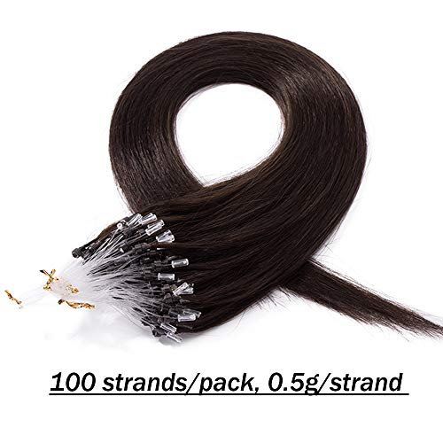 UK Beauty Outlet Micro Loop Human Hair Extensions Real Remy Hair with Micro Ring Beads Straight - 100 Strands (#2 Dark Brown, 22 inches)