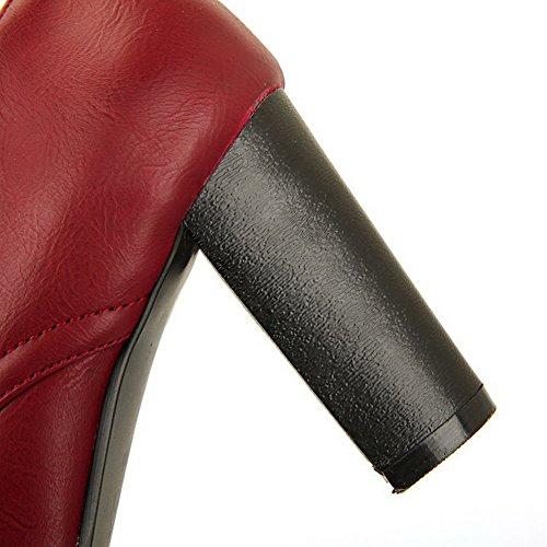 AgooLar Femme à Talon Haut Couleur Unie Lacet Matière Souple Rond Chaussures Légeres Rouge Vineux