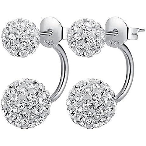 1 paio di orecchini di cristallo in 100% 925 argento Orecchino con 2 palle di Shamballa perla donne moderne eleganti gioielli - Orecchini