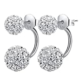 Fashion Sparkling Crystal Sphere Earrings Silver Plated Shamballa Stud Earrings (Sliver)