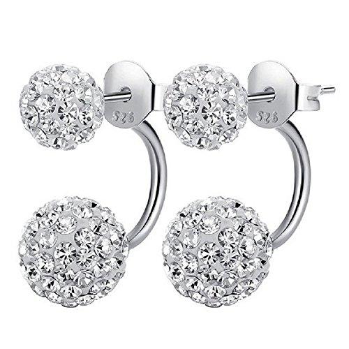 1 paio di orecchini di cristallo in 100% 925 argento Orecchino con 2 palle di Shamballa perla donne moderne eleganti gioielli (stile-1)