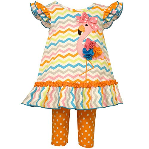 Bonnie Jean Mädchen Sommer Outfit Flamingo Tunika Top Kleid + Capri Leggings Hose Bunt (110) Bonnie Jean Capri-jeans