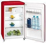 Vintage Kühlschrank rot Küchen Gefrierfach Glas Boden 121 Liter Exquisit RKS130-11A++