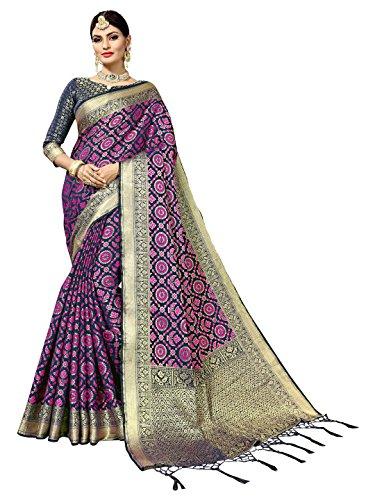 SOURBH Women's Art Silk Woven Patola Saree with Self Design (6831_Blue)