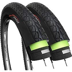 Fincci Par 26 x 1,95 Pulgadas 53-559 Cubiertas con 2.5mm Anti Pinchazo para Carretera MTB Montaña Hibrida Bici Bicicleta (Paquete de 2)