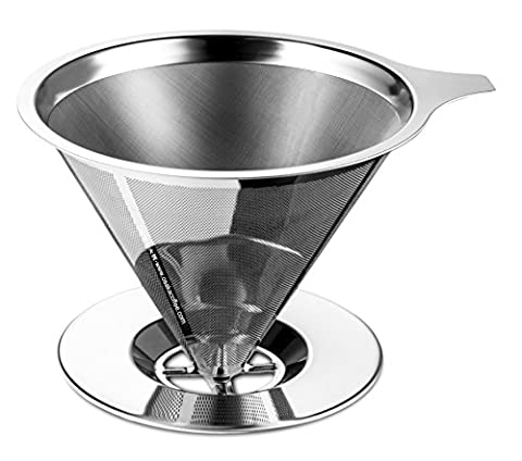 Osaka Stainless Steel Pour Over Cone Dripper, Reusable Coffee Filter with Cup Stand