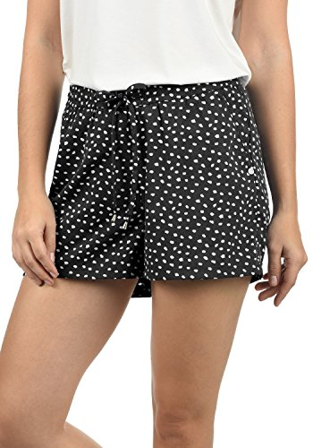 Dot Print Kurze (BlendShe Amal Damen Chino Shorts Bermuda Kurze Hose Mit Print Und Kordel Loose Fit, Größe:M, Farbe:Black dot (10010))