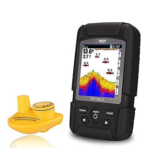 Lucky Ff718lic-w détecteur de poisson portable sans fil étanche jusqu'à 45m/147feet Sonar Fishfinder Ocean River Lake Couleur