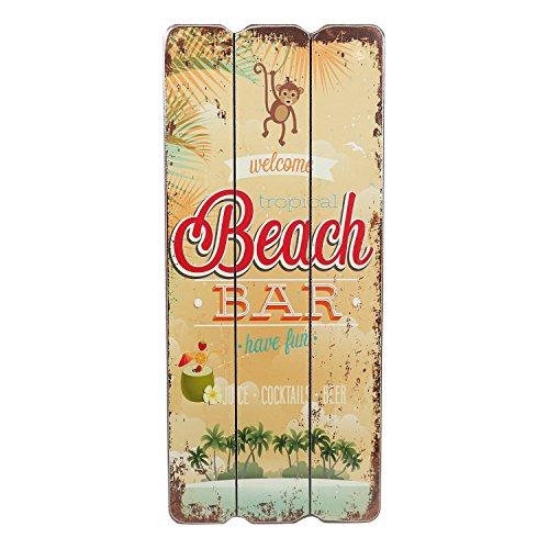 Holzschild BEACH BAR Tropical Bar Wandschild MDF Wanddeko Schild Strand Urlaub Welcome Türschild Coctails Beer Keller Dekoschild 34x15 cm (Beach Bar1)